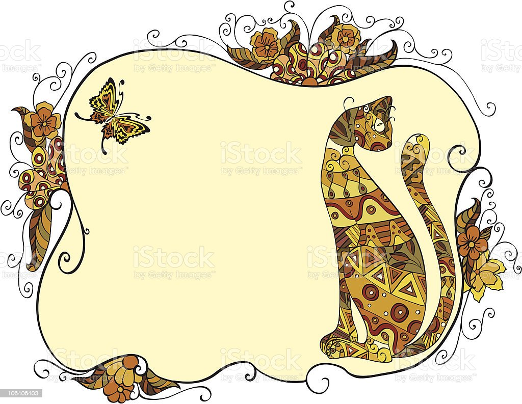 cat and floral frame royalty-free stock vector art