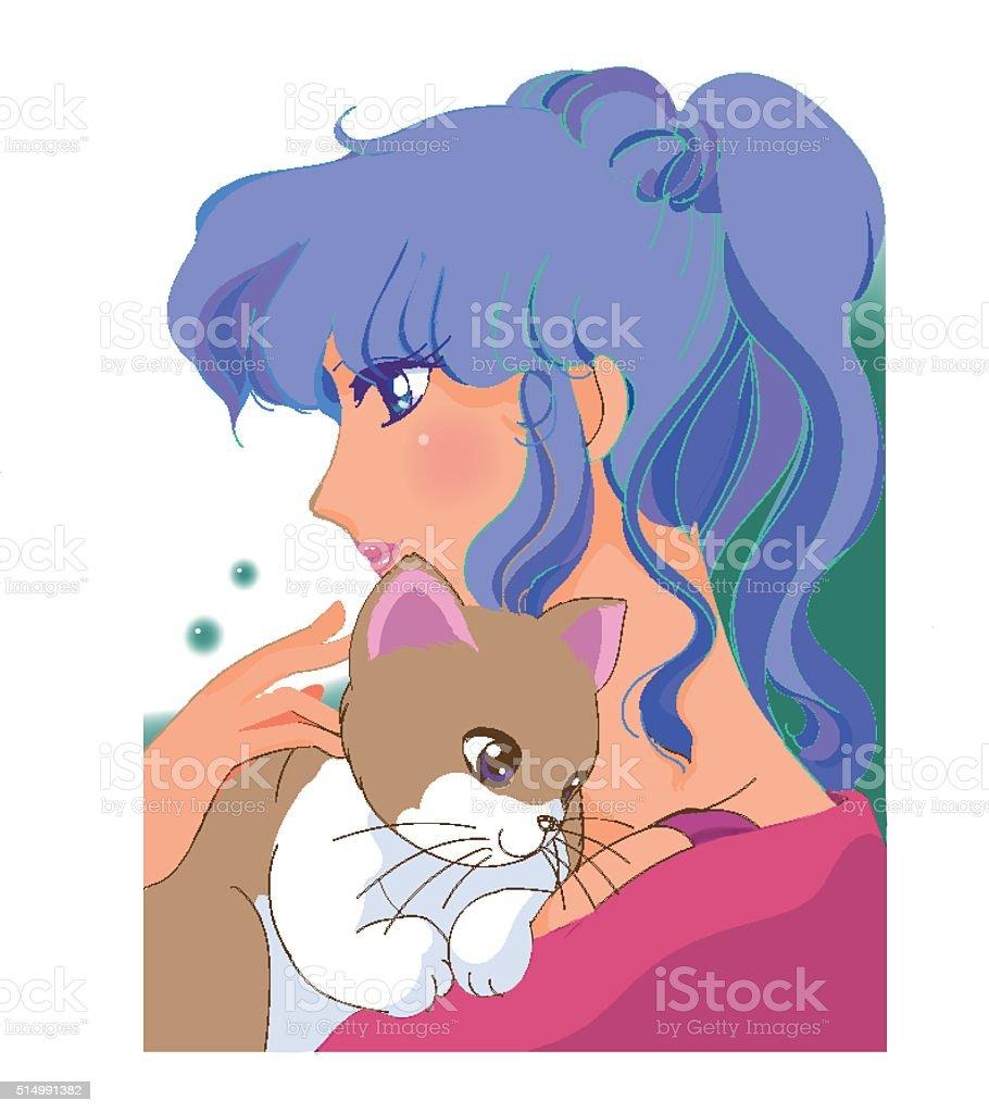 Cat and Girl vector art illustration