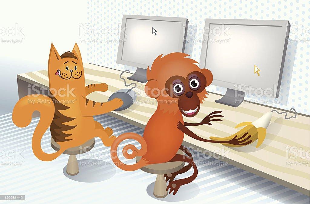 Cat and monkey vector art illustration