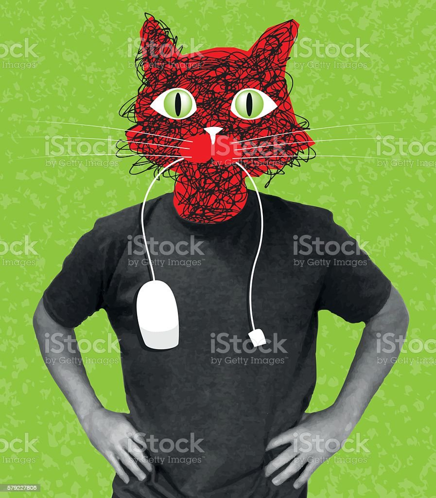 Cat and mouse vector art illustration
