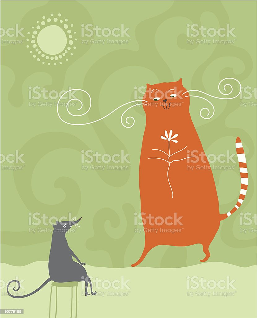 cat and mouse royalty-free stock vector art