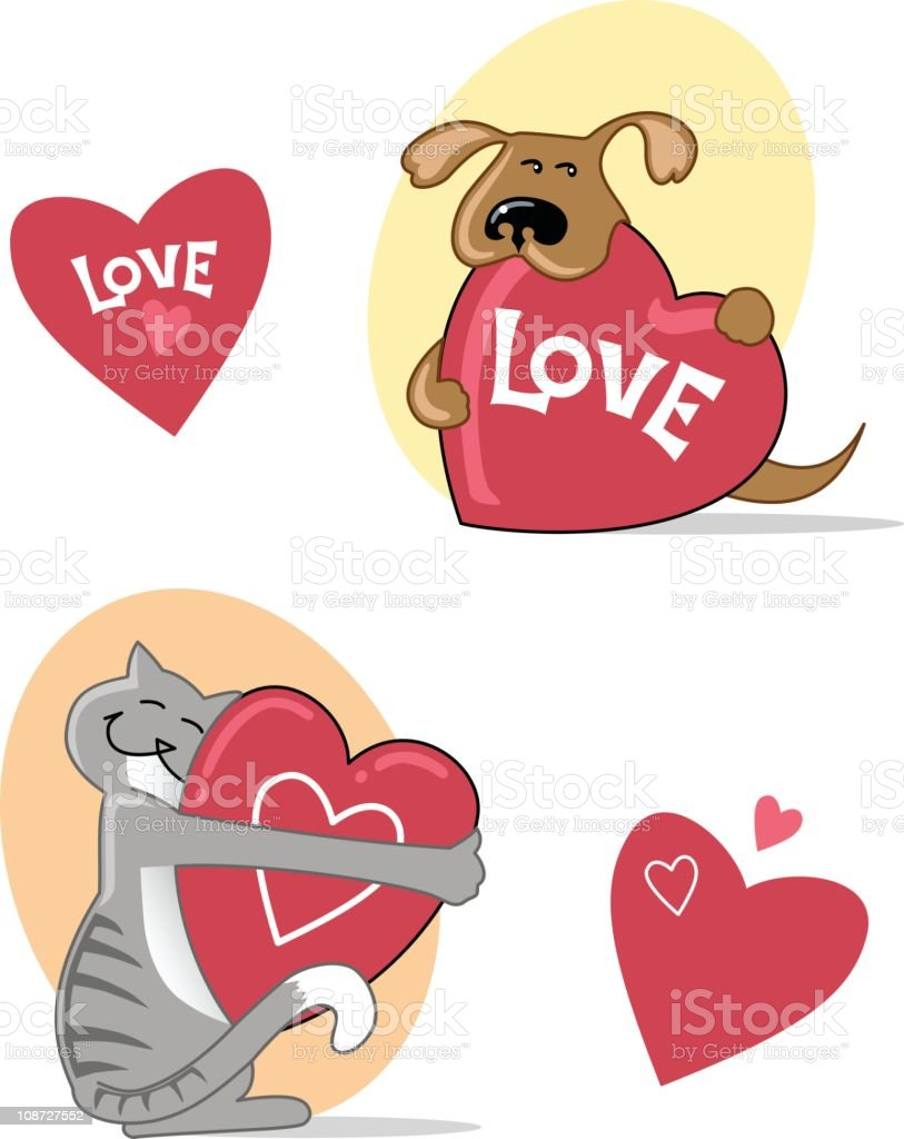 Cat and Pup with hearts royalty-free stock vector art