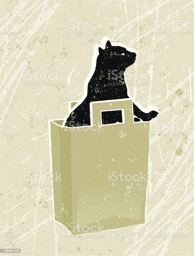 Cat and Shopping Bag royalty-free stock vector art