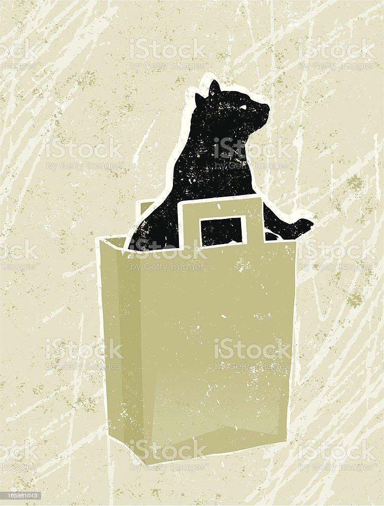 Cat and Shopping Bag vector art illustration