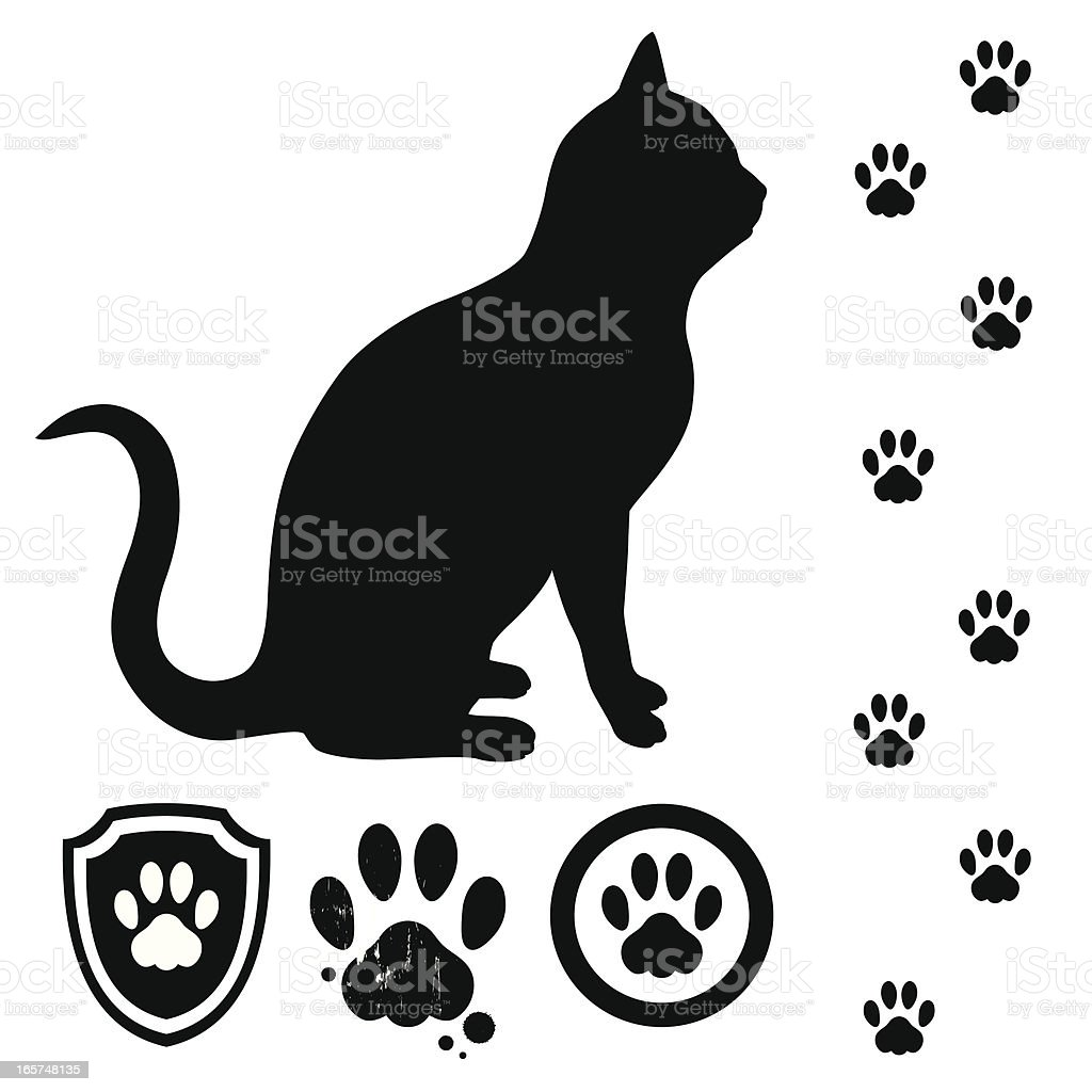 Cat and tracks vector art illustration