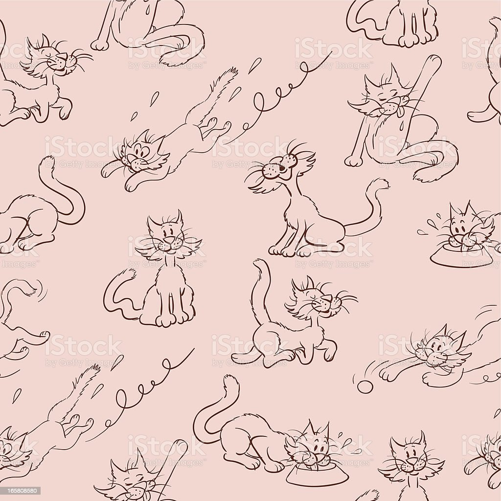 Cat Behaviour Seamless royalty-free stock vector art