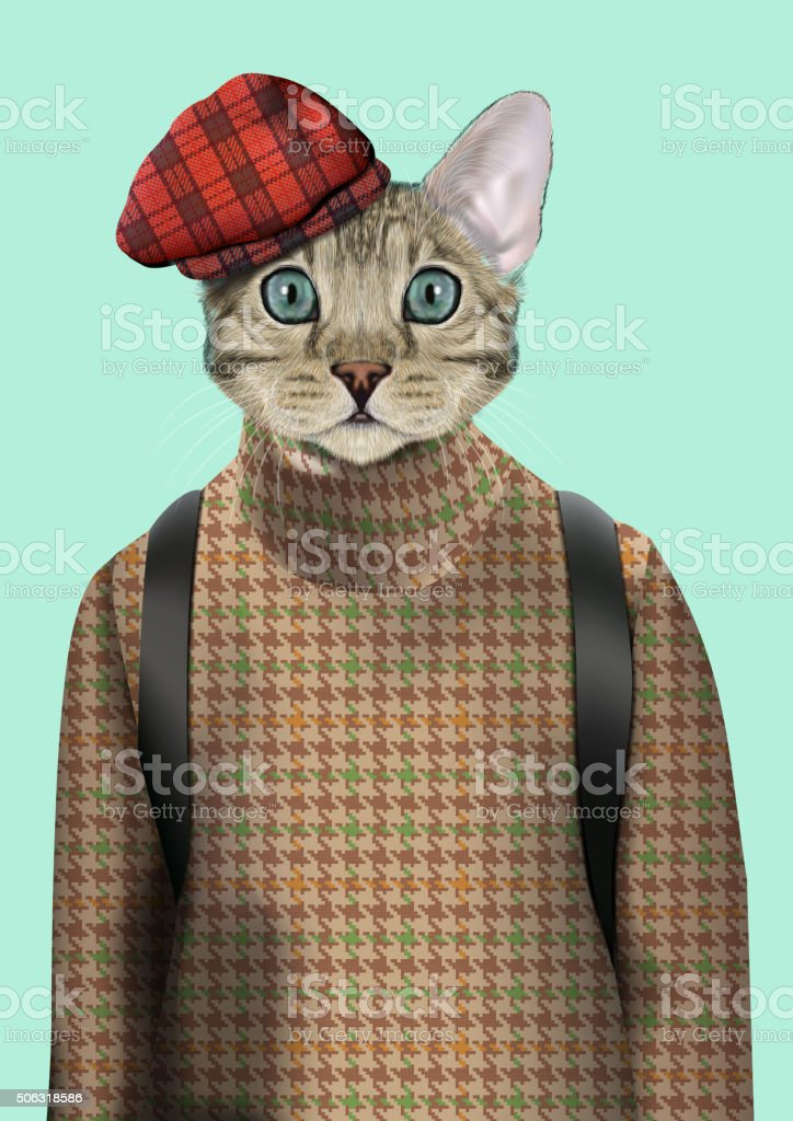 Cat boy dressed up in urban style vector art illustration