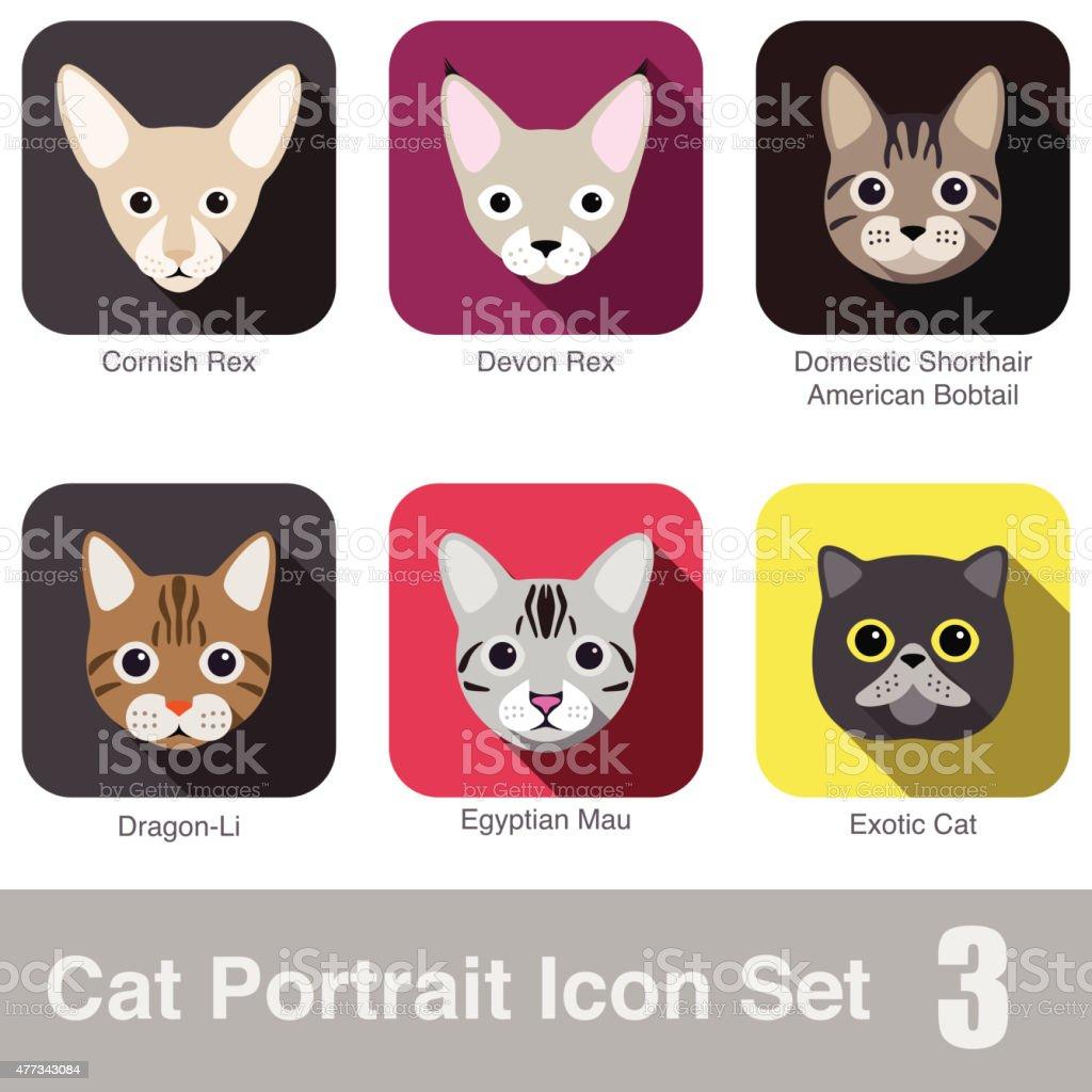 Cat breed face cartoon flat icon series vector art illustration