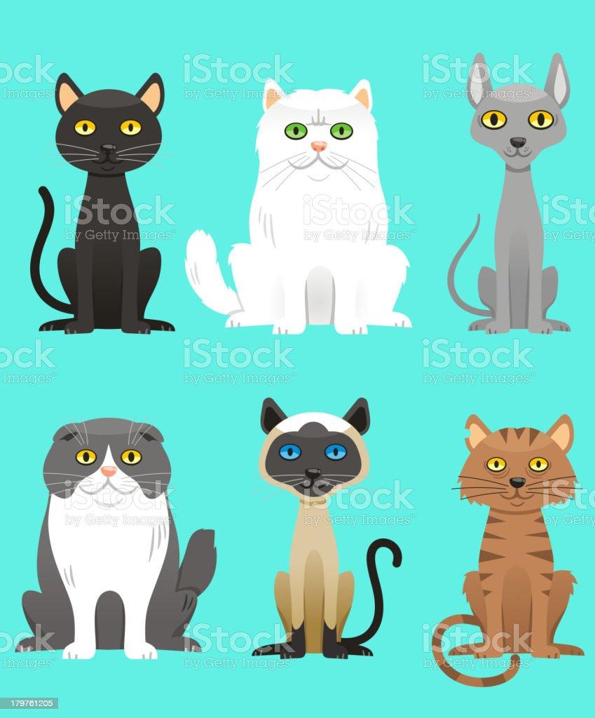 Cat Breed Set vector art illustration