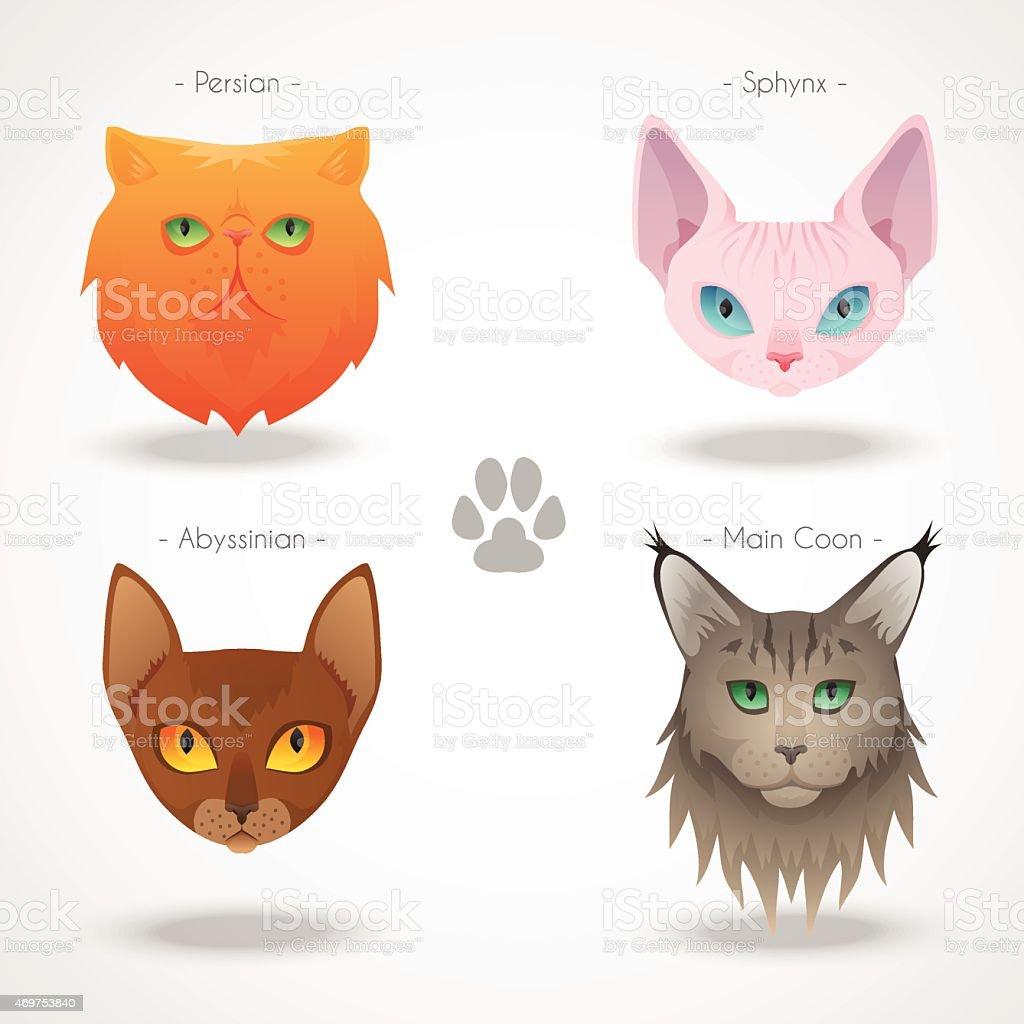 Cat Breeds icons vector art illustration