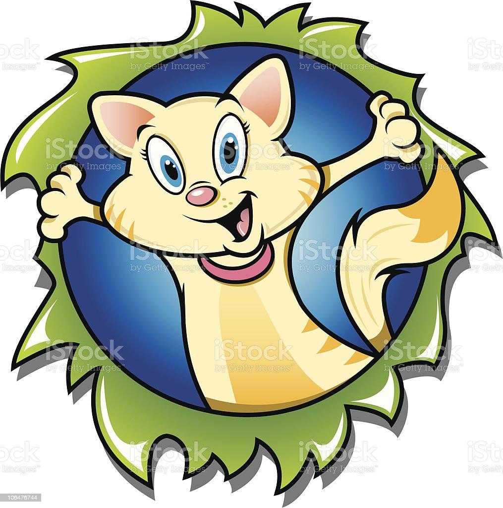 Cat Bustin' Out vector art illustration