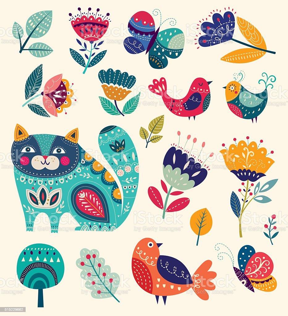 Cat, butterflies, birds and flowers vector art illustration