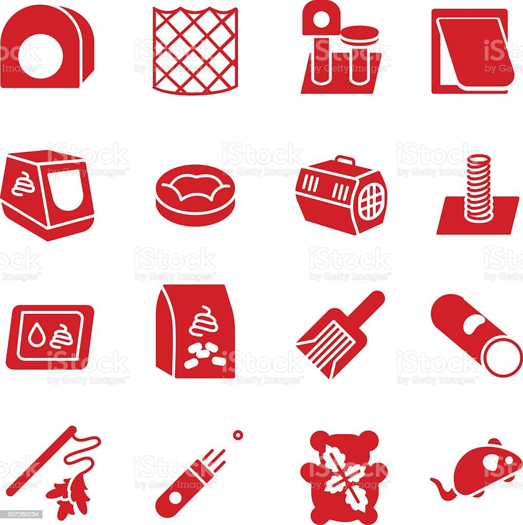 Cat care items as glyph icons vector art illustration