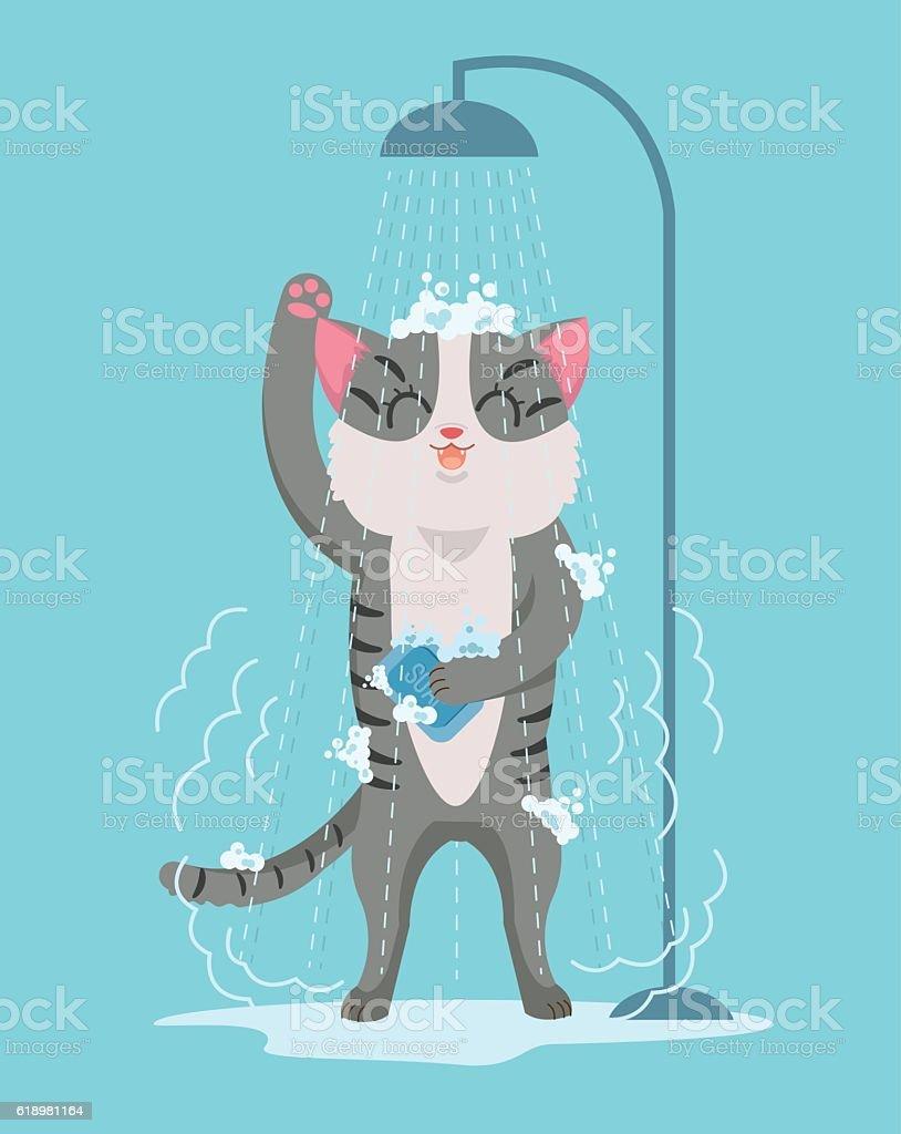 Cat character taking shower. Vector flat cartoon illustration vector art illustration