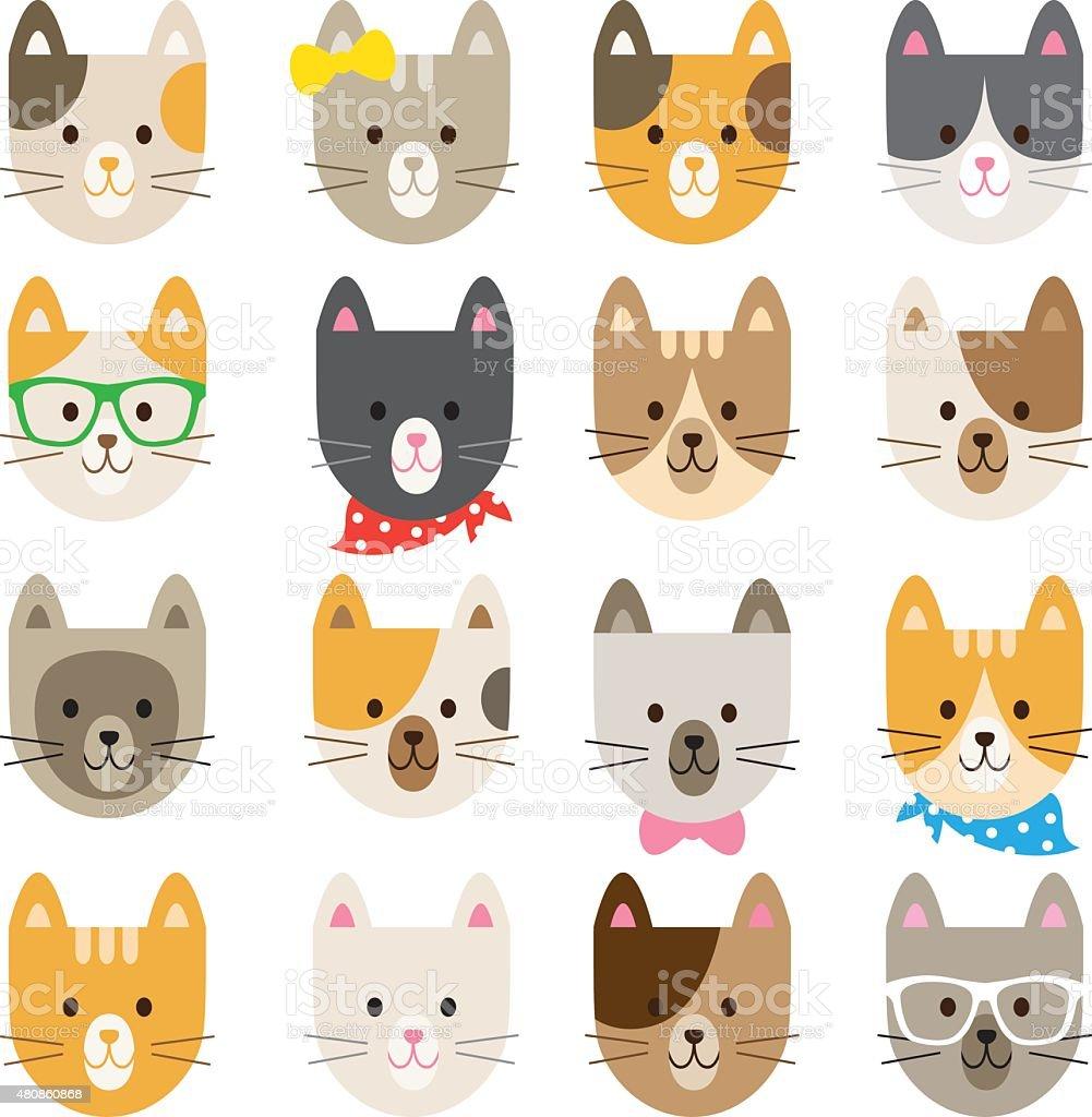 Cat Characters Set vector art illustration