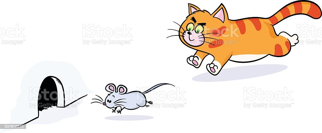 cat chasing mouse vector art illustration