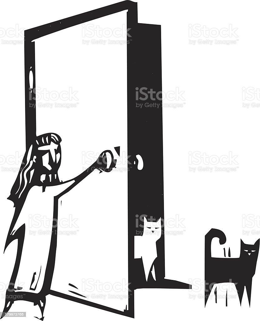 Cat Door royalty-free stock vector art