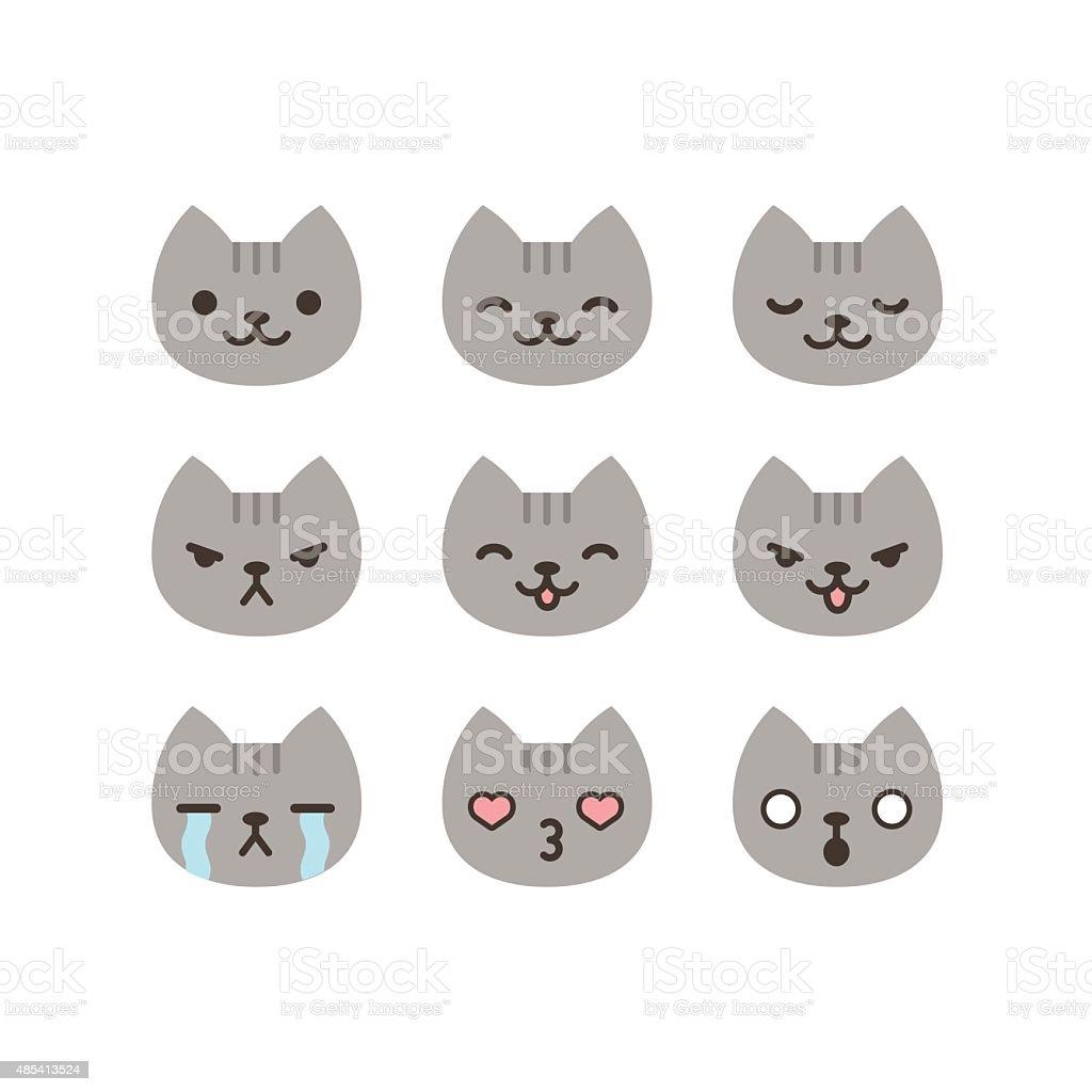 Cat emoticons vector art illustration