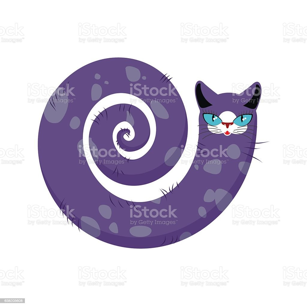 Cat fabulous isolated. long tail of Pet on white background vector art illustration