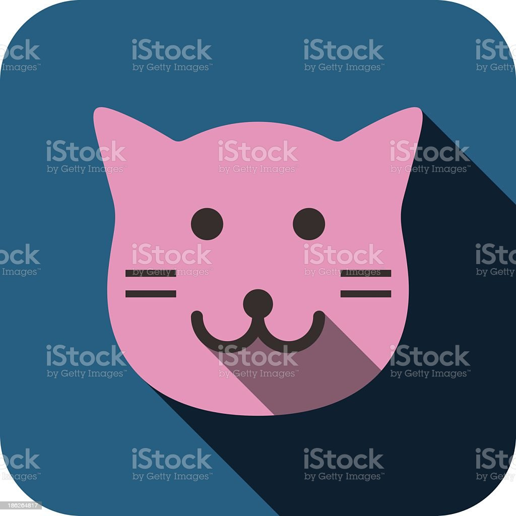 cat face flat icon design. Animal icons series. royalty-free stock vector art