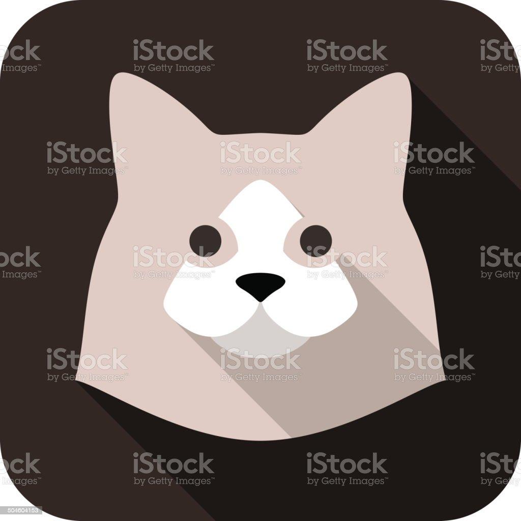 cat face flat icon vector art illustration