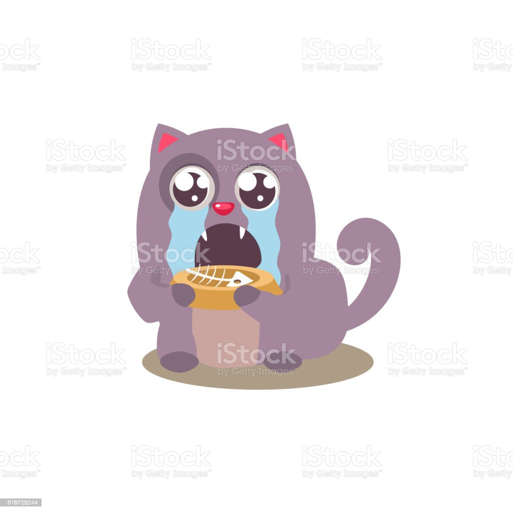 Cat Finished Its Food vector art illustration