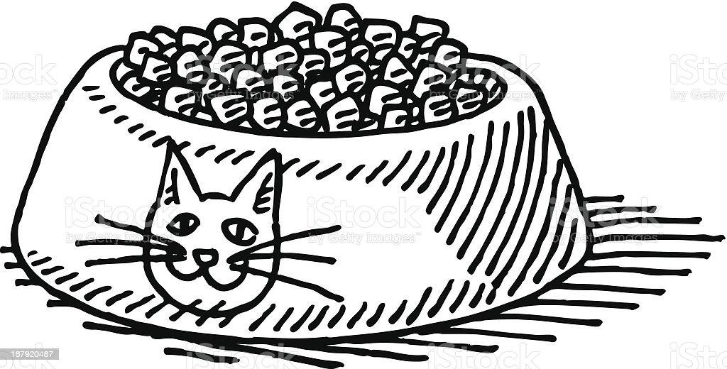 Cat Food Bowl Drawing vector art illustration