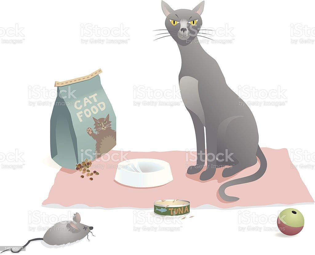 Cat Food Scene vector art illustration
