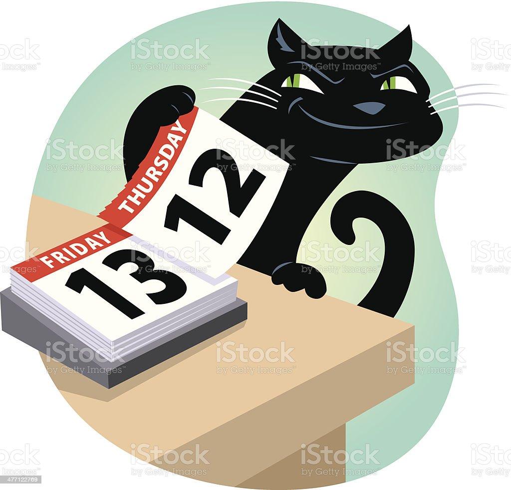 Cat Friday13 C vector art illustration