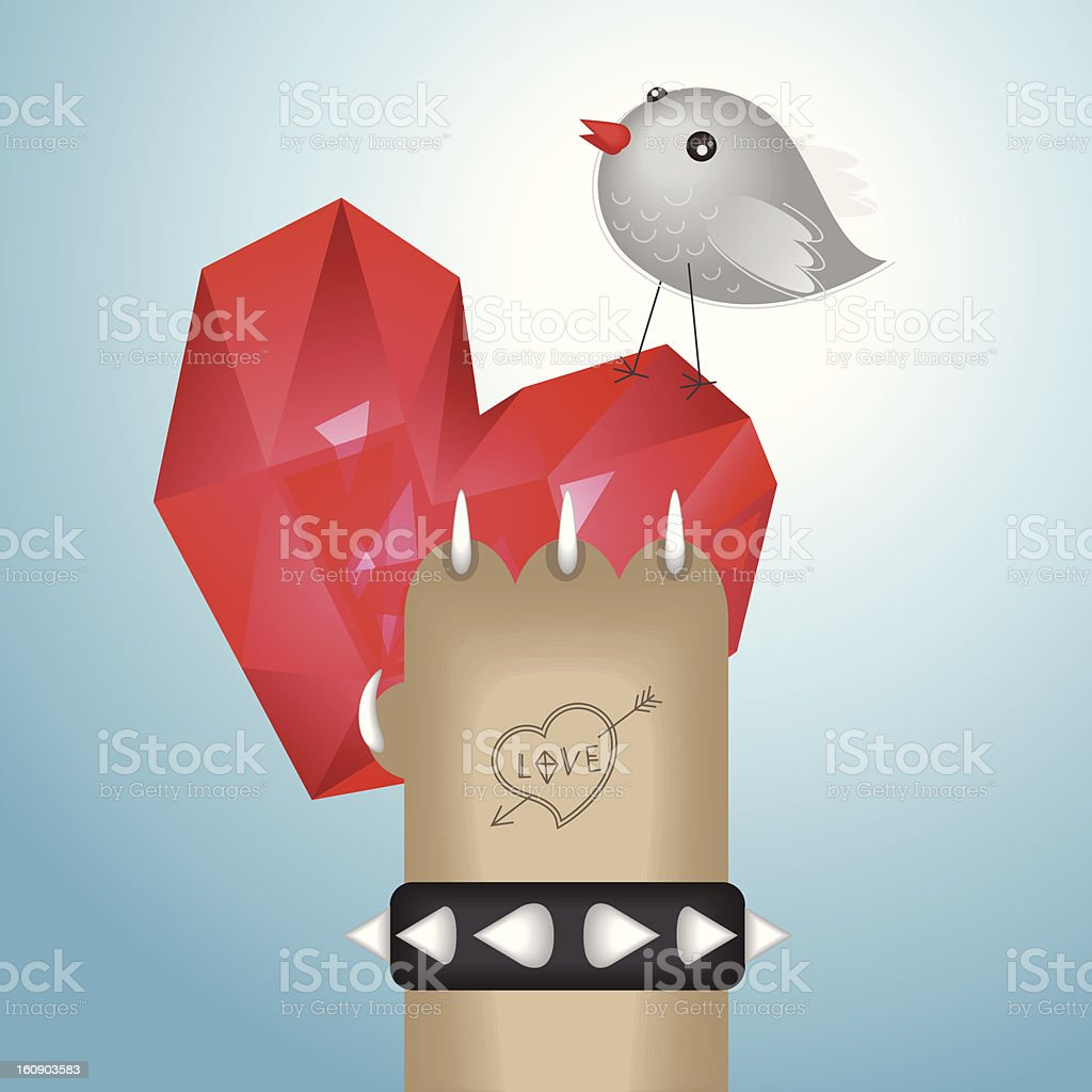 Cat gives a heart to bird royalty-free stock vector art