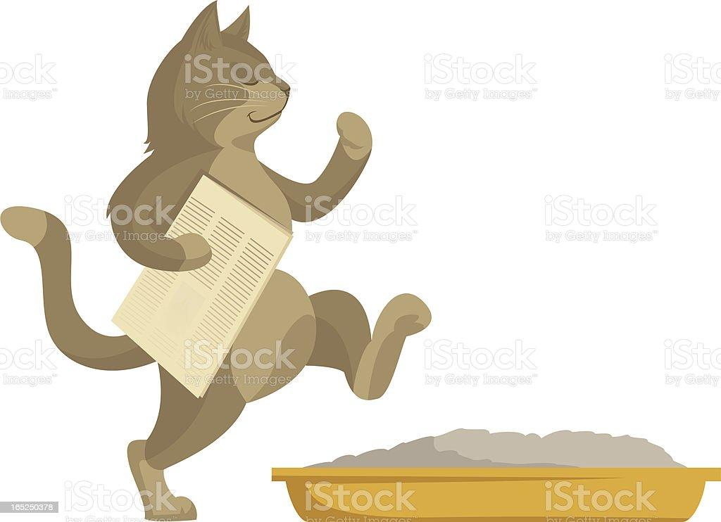 Cat goes in toilet royalty-free stock vector art
