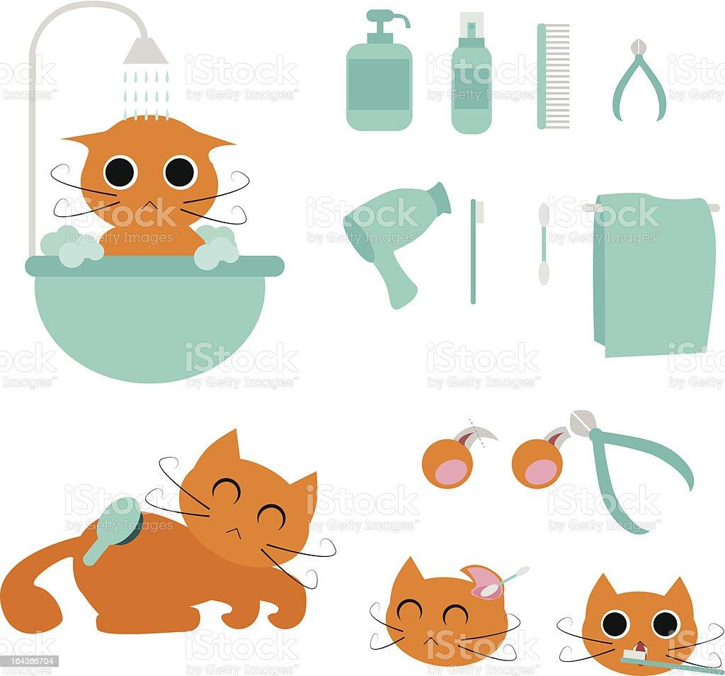 cat grooming royalty-free stock vector art