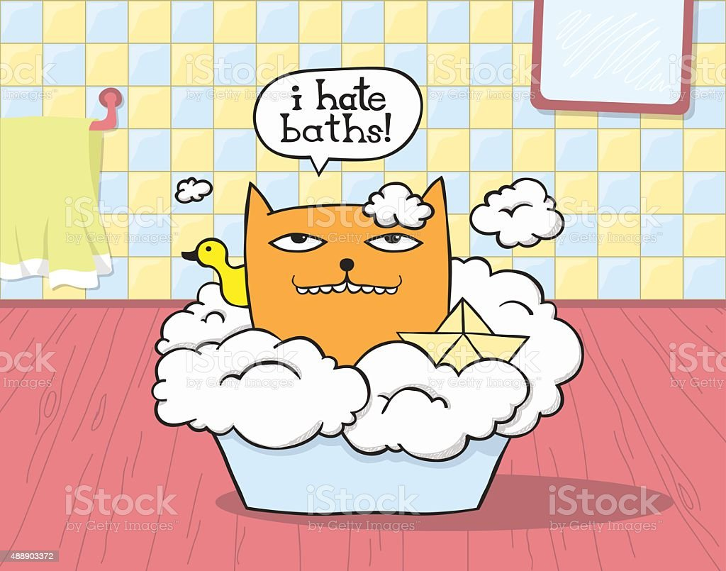 Cat Hates Bath vector art illustration