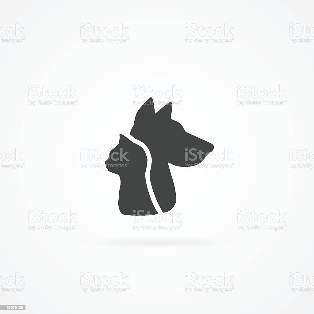 Cat head and dog head icon. vector art illustration