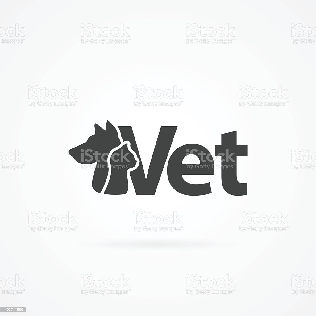 Cat head and dog head with vet text icon. vector art illustration
