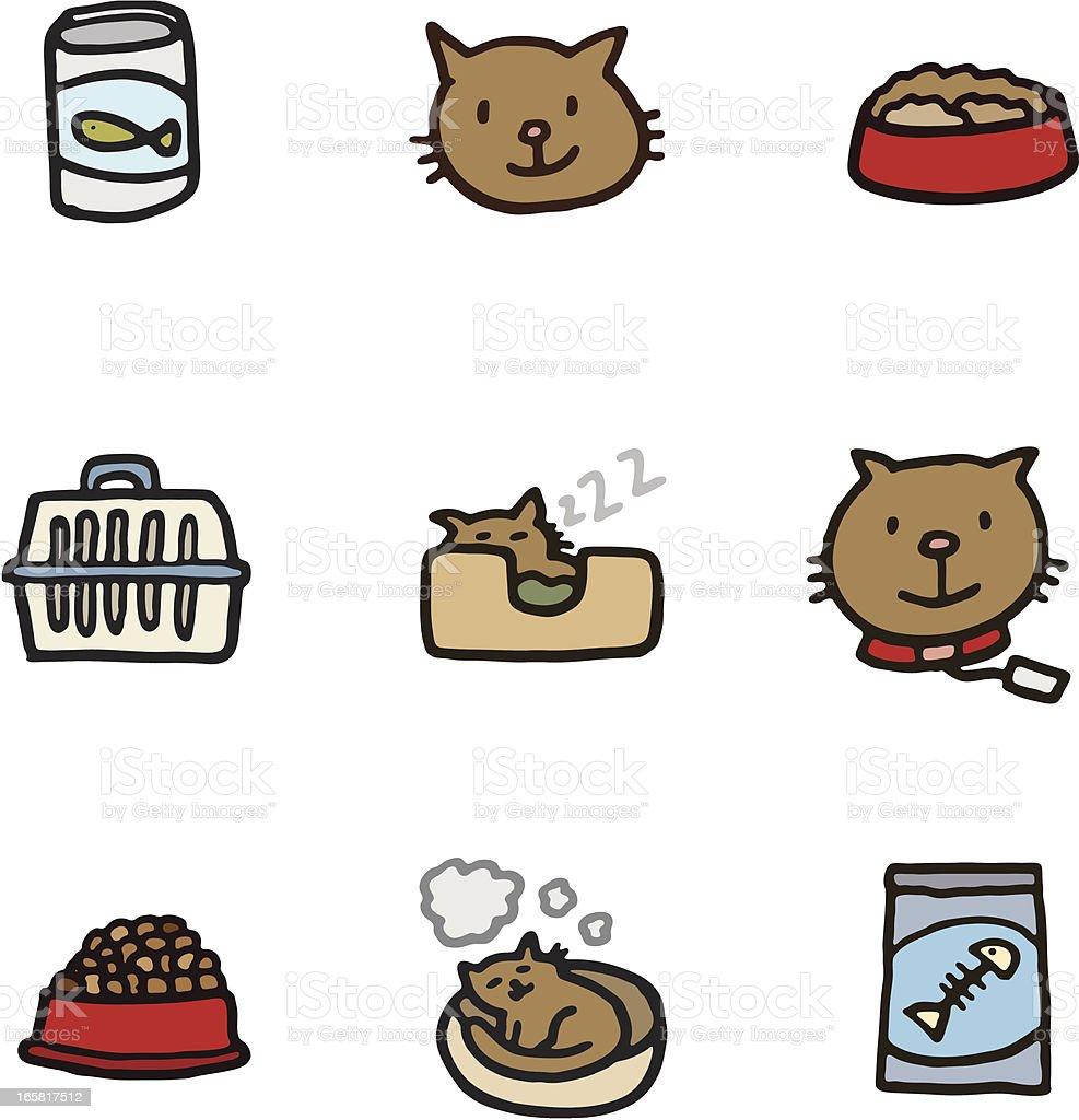 Cat icon set vector art illustration