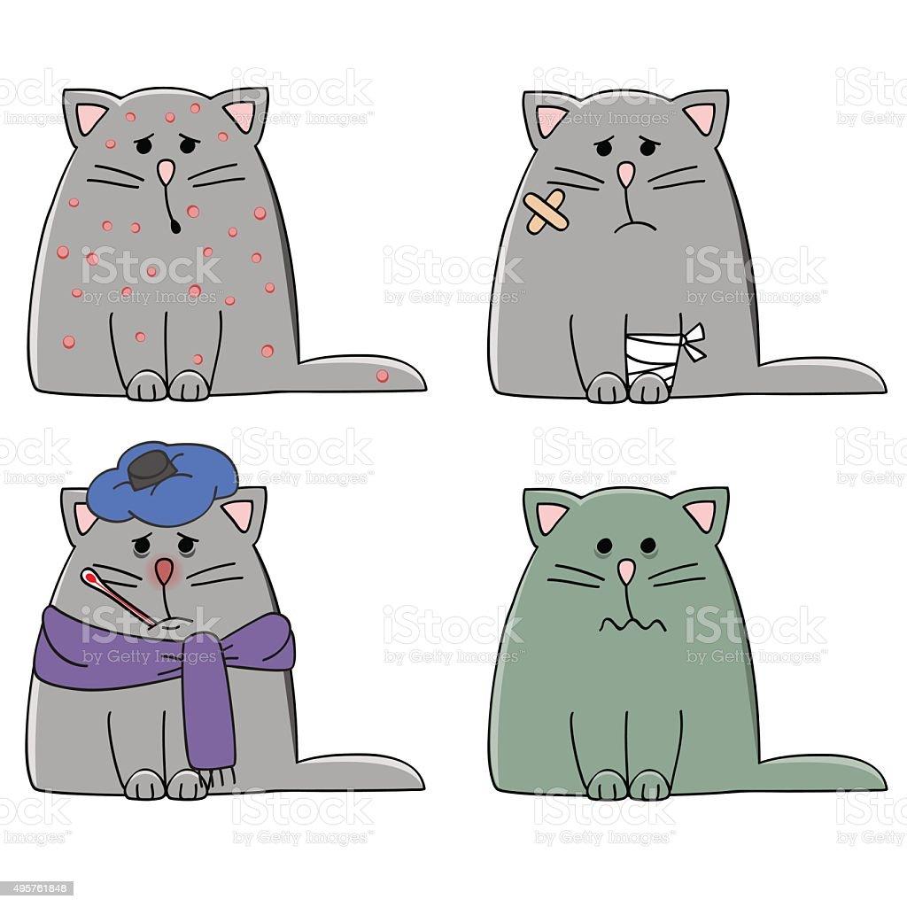 cat illness vector art illustration