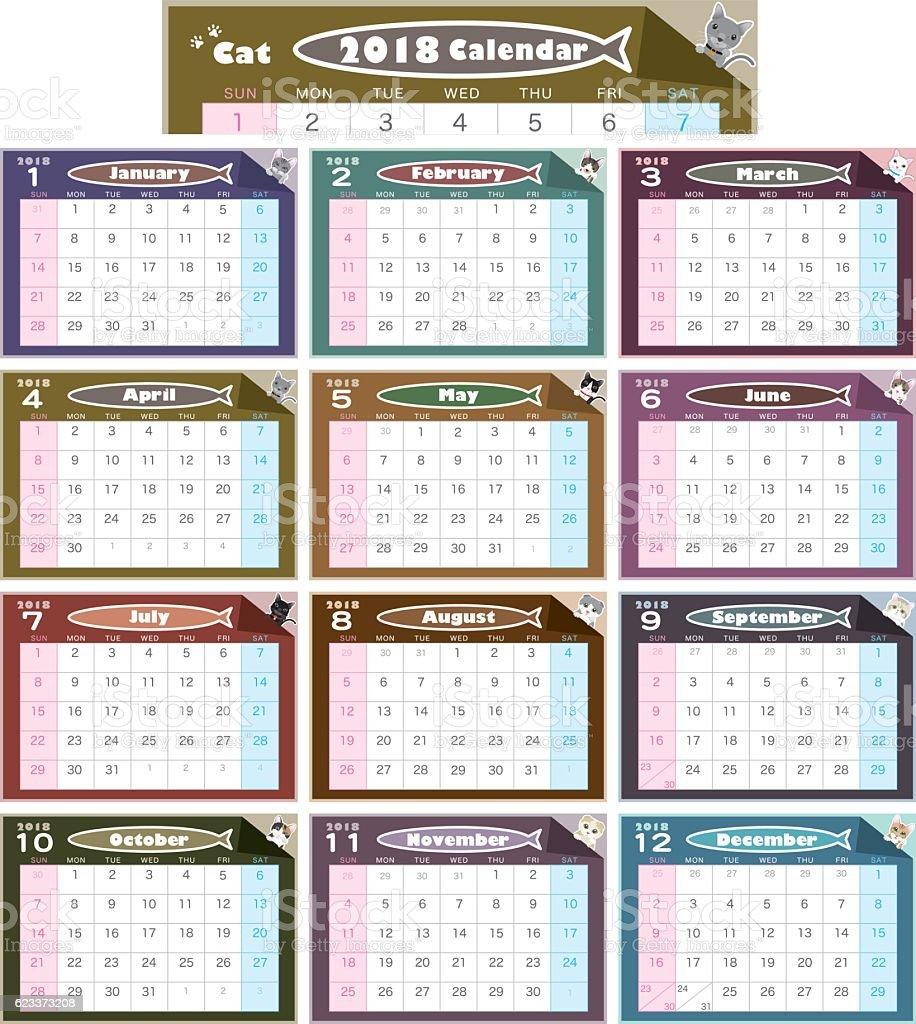 Cat illustration calendar vector art illustration