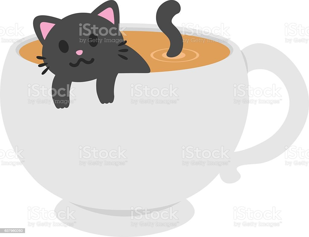 Cat In A Coffee Mug vector art illustration