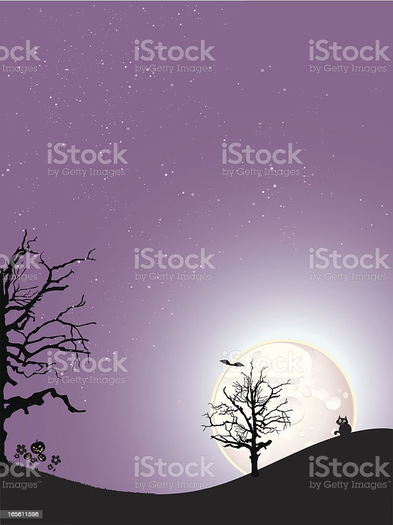 Cat in a purple night royalty-free stock vector art