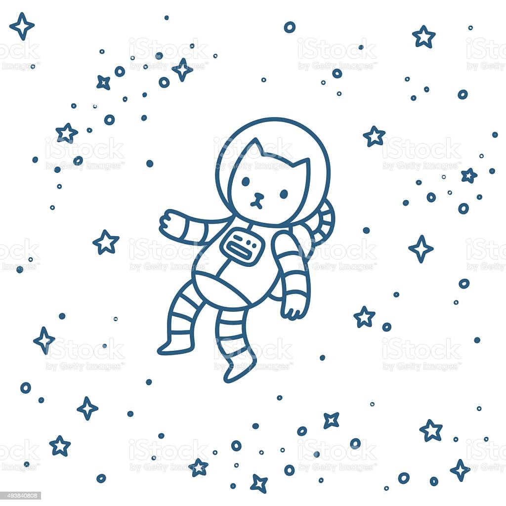 Cat in space vector art illustration