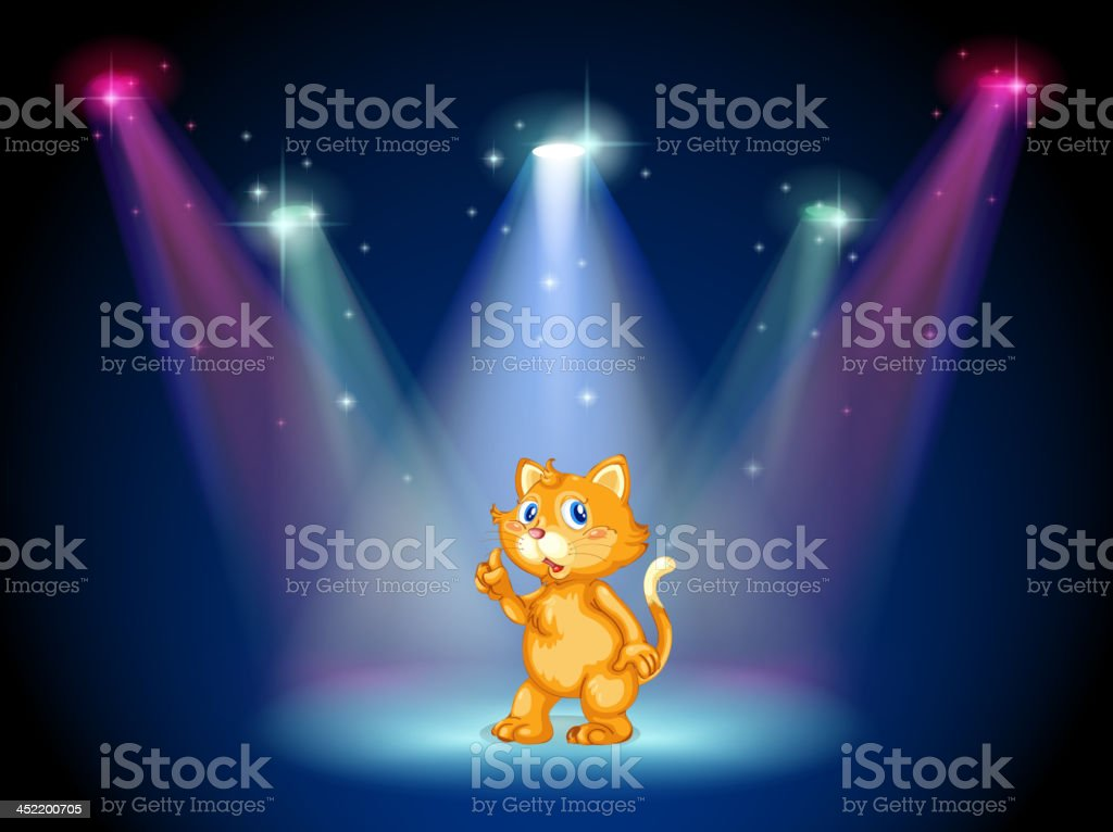 Cat in the middle of stage under spotlights royalty-free stock vector art