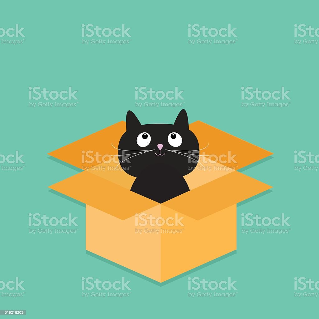 Cat inside opened cardboard package box. Flat design style. vector art illustration