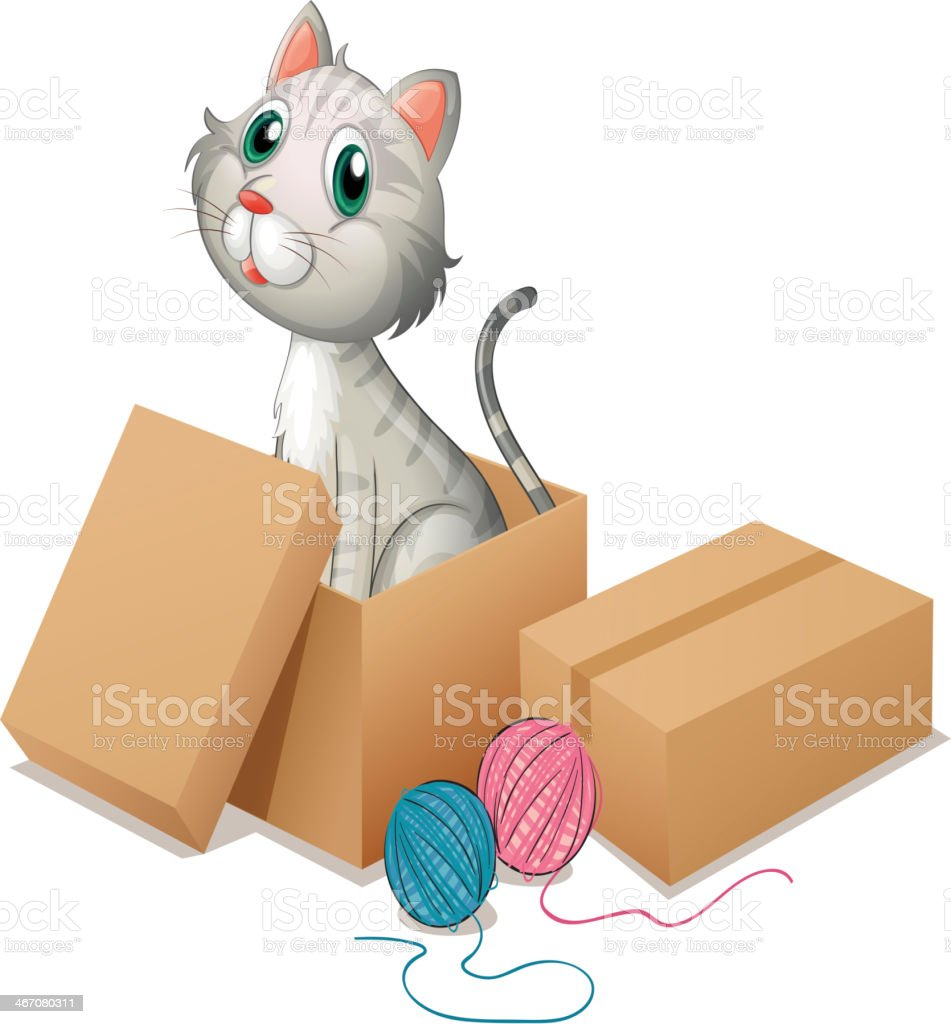 Cat inside the box royalty-free stock vector art