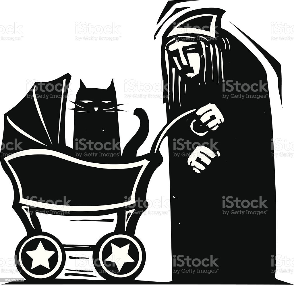 Cat Lady with Baby Stroller royalty-free stock vector art
