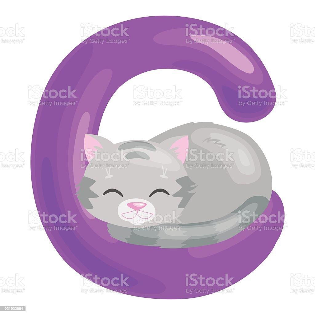 cat letter with animal for kids abc education in preschool. vector art illustration