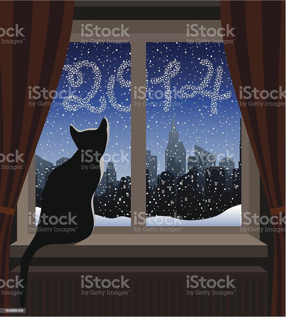 Cat Looking at Winter City 2014 vector art illustration