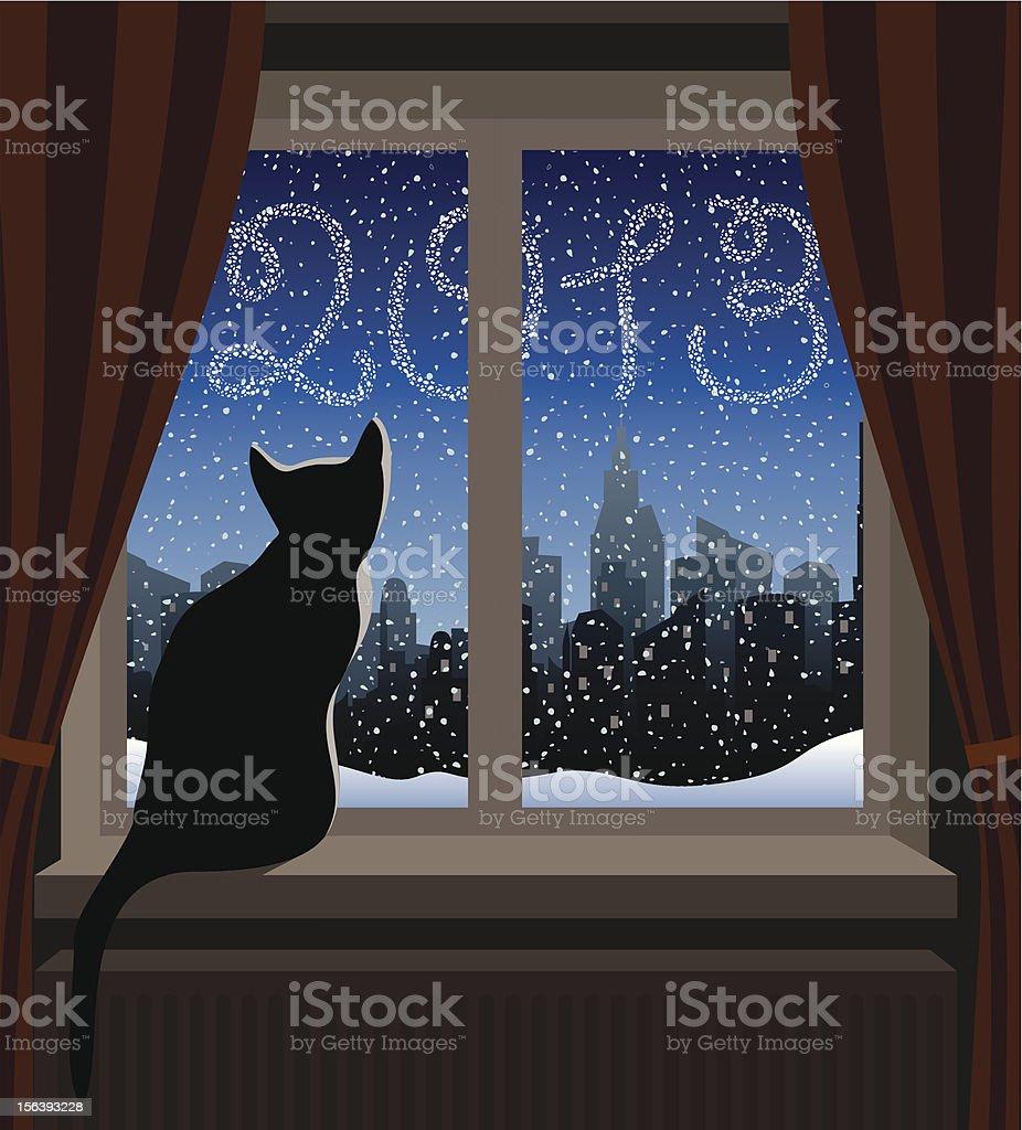 Cat Looking at Winter City vector art illustration