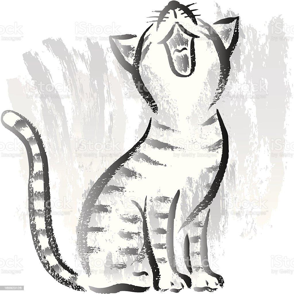 Cat looking up vector art illustration