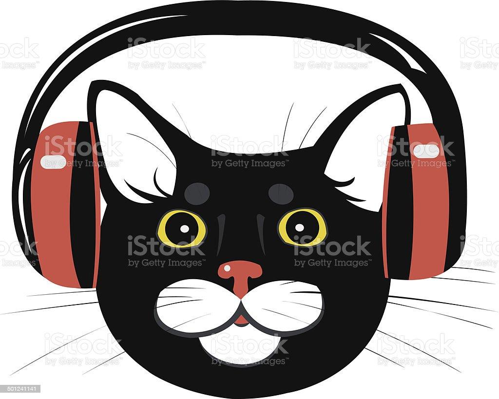 cat music headphones royalty-free stock vector art